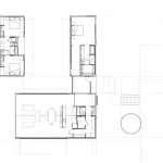 "Shafer residence floor plan with ""L"" shaped main house and detached 2 bedroom guest house"